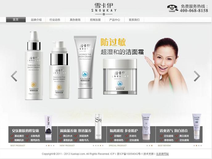 北京雪卡伊美容护肤品网站案例
